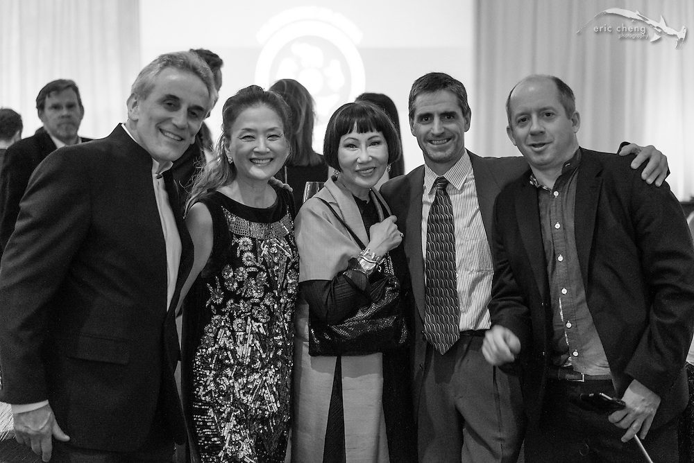 Lou DeMattei, Olivia (?), Amy Tan, Shawn Heinrichs, Duncan Clark; WildAid Gala, November 15, 2014