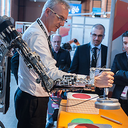 Lyon, France - 19 March 2014: ABLE Robot by CEA Haption at Innorobo 2014, the 4th international trade show on service robotics.