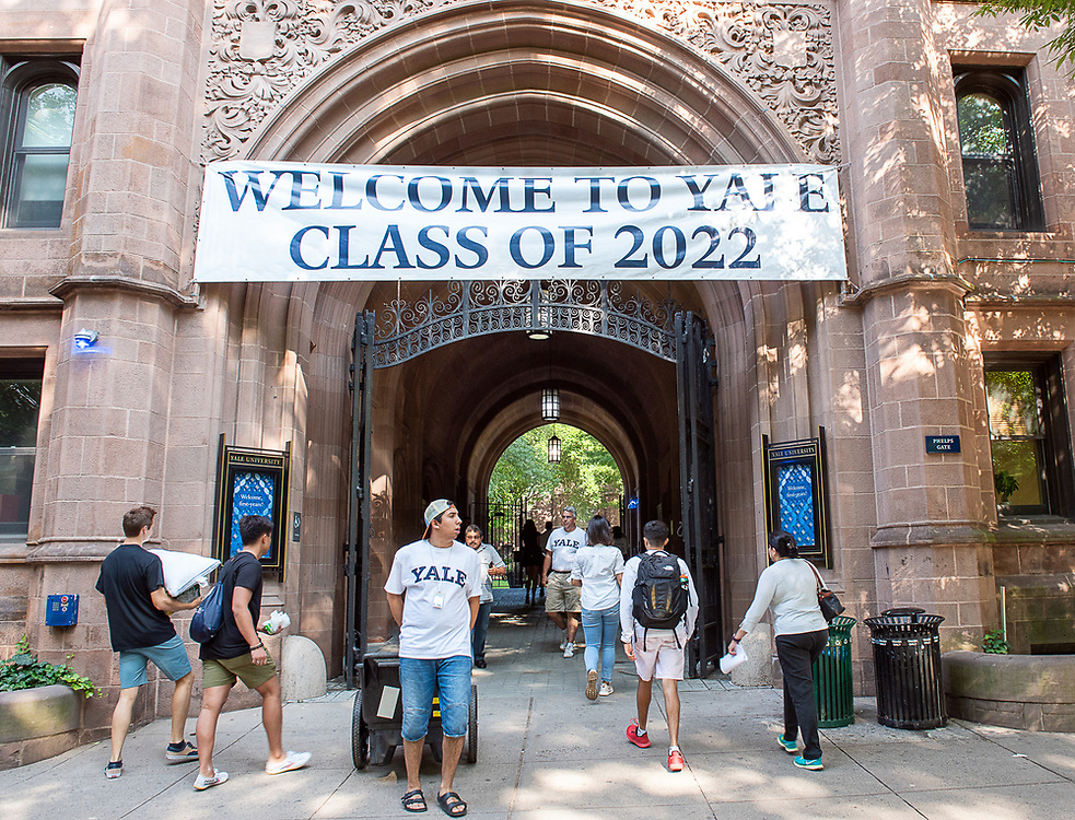 Photography ©Mara Lavitt<br /> August 24, 2018<br /> <br /> First-year-student move-in day at Yale. Phelps Gate.