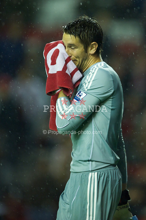 LIVERPOOL, ENGLAND - Wednesday, September 22, 2010: Liverpool's goalkeeper Brad Jones looks dejected during the Football League Cup 3rd Round match against Northampton Town at Anfield. (Photo by David Rawcliffe/Propaganda)