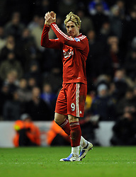 Fernando Torres applauds the fans in the Kop after his substitution during the Barclays Premier League match between Liverpool and Chelsea at Anfield on February 1, 2009 in Liverpool, England.