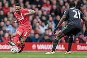 Nathaniel Clyne (Liverpool) crosses the ball into the box during the Barclays Premier League match between Liverpool and Stoke City at Anfield, Liverpool, England on 10 April 2016. Photo by Mark P Doherty.