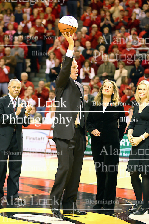 03 February 2007: Al Bowman, Doug Collins, Mrs Bowman and daughter. In what is locally referred to as the War on Seventy Four, the Bradley Braves defeated the Illinois State University Redbirds 70-62 on Doug Collins Court inside Redbird Arena in Normal Illinois.