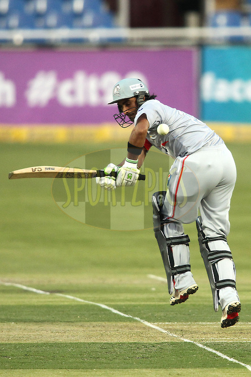 Imran Nazir of Sialkot Stallions plays a delivery off his hips during 2nd Qualifying match of the Karbonn Smart CLT20 South Africa between Auckland Aces and Sialkot Stallions held at The Wanderers Stadium in Johannesburg, South Africa on the 9th October 2012..Photo by Shaun Roy/SPORTZPICS/CLT20