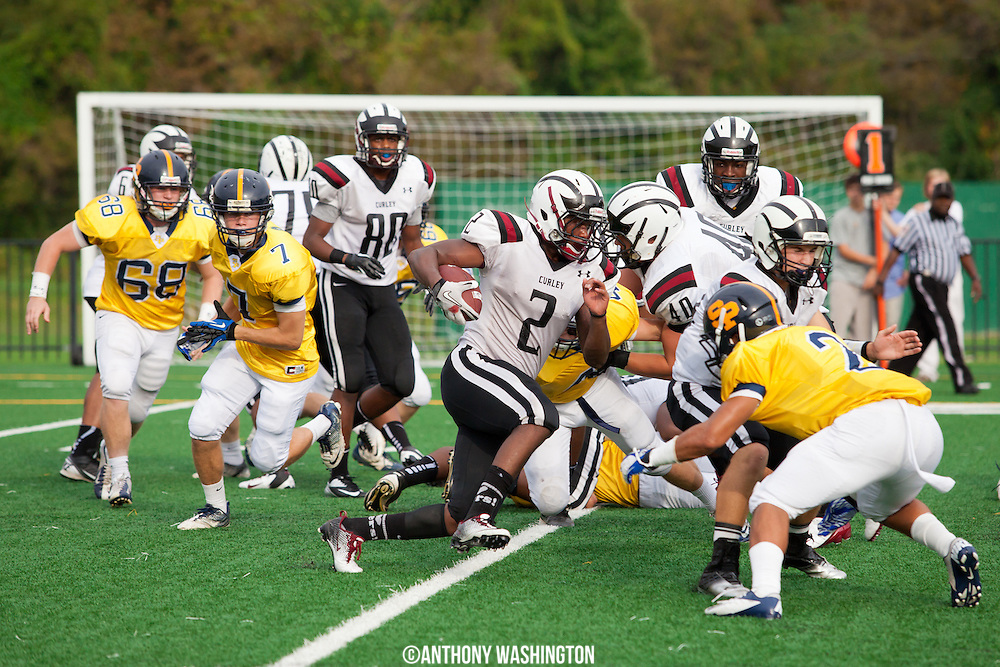 Archbishop Curley Running Back Kenny Thomas runs the ball against St. Paul's School for Boy's on Saturday, September 28, 2012 in Brooklandville, MD.