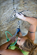 Christine Balaz on Broken Tree Pitch 2, 5.10a, Devil's Tower, WY