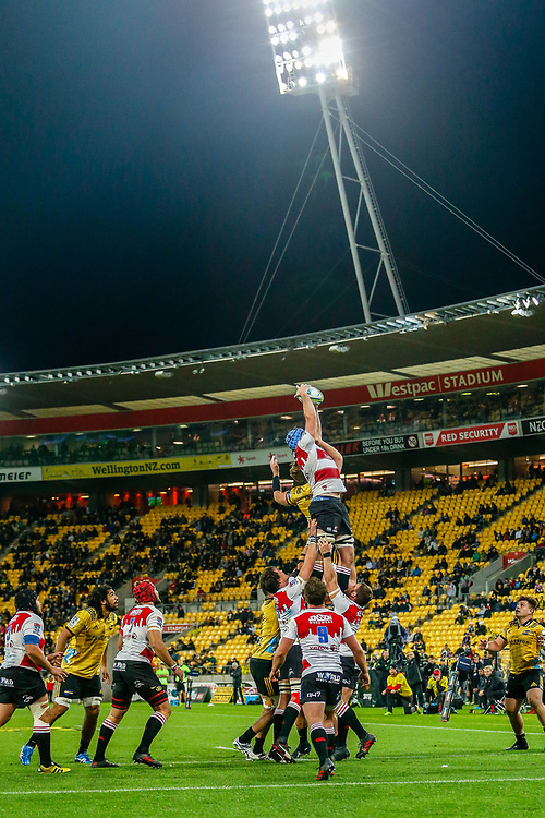 Lions line out  during the Super rugby (Round 12) match played between Hurricanes  v Lions, at Westpac Stadium, Wellington, New Zealand, on 5 May 2018.  Hurricanes won 28-19.