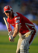 George Bailey captain of the Kings X1 Punjab bats during a warm up session before the start of match 15 of the Pepsi Indian Premier League 2014 Season between The Kings XI Punjab and the Kolkata Knight Riders held at the Sheikh Zayed Stadium, Abu Dhabi, United Arab Emirates on the 26th April 2014<br /> <br /> Photo by Pal Pillai / IPL / SPORTZPICS