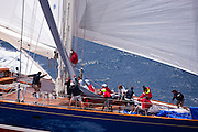 Rebecca sailing in the 2010 Antigua Classic Yacht Regatta, Butterfly Race, day 2.