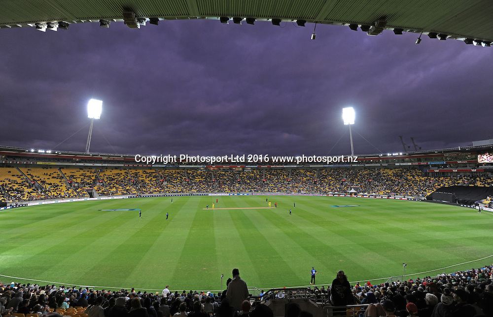 General view of Westpac Stadium in the 2nd match of the Chappell-Hadlee ODI series, New Zealand vs Australia, Westpac Stadium, Wellington, Saturday, February, 06, 2016. Copyright photo: Kerry Marshall / www.photosport.nz