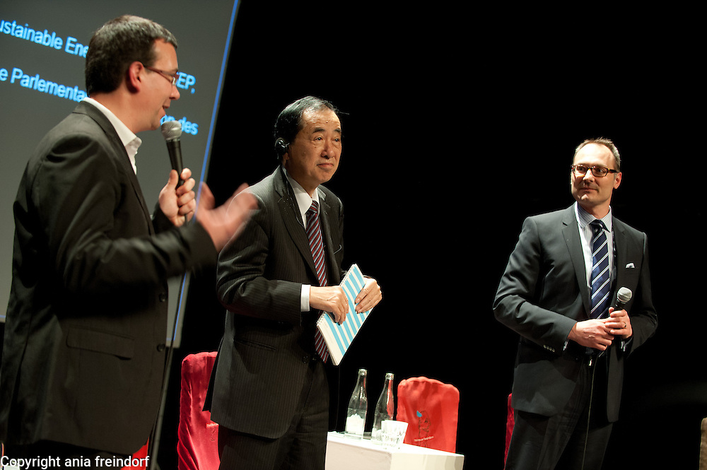 """Conference """"Fukushima, nuclear accident - four years later"""", (right) Green Cross Paris, France, COO Green Cross International Adam Koniuszewski, Naoto Kan ancient Prime Minister of Japan, he resigned six months after the Fukushima nuclear accident, Nicolas Imbert, Director of Green Cross France"""