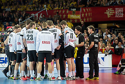 Players of Germany with Dagur Valdimar Sigurdsson, head coach of Germany during handball match between National teams of Spain and Germany on Day 2 in Preliminary Round of Men's EHF EURO 2016, on January 15, 2016 in Centennial Hall, Wroclaw, Poland. Photo by Vid Ponikvar / Sportida