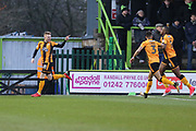 Cambridge United's George Maris(18) scores a goal 0-1 and celebrates during the EFL Sky Bet League 2 match between Forest Green Rovers and Cambridge United at the New Lawn, Forest Green, United Kingdom on 20 January 2018. Photo by Shane Healey.