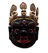 Masque de Mahakala. Cardboard, moulded and painted. Tibet. Mahakala is a Dharmapala ('protector of dharma') in Vajrayana Buddhism, and a deity in Chinese and Japanese Buddhism, particularly in the Vajrayana school.