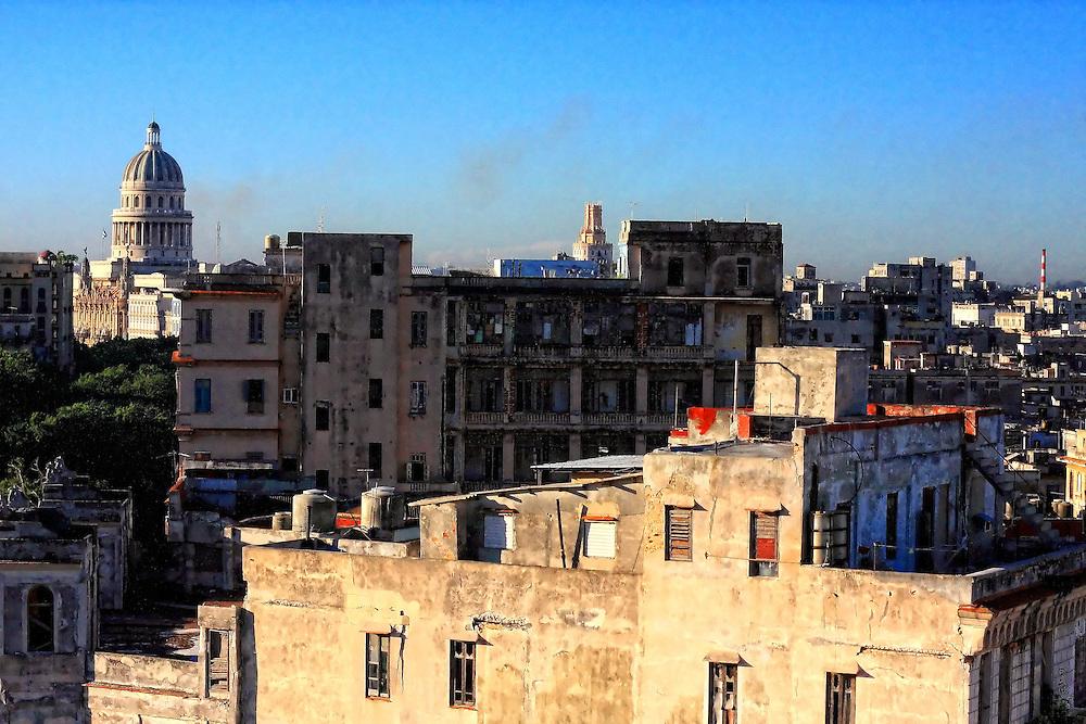 Rooftops in Havana Centro, Cuba.
