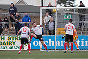 Forfar's David Cox heads home his side's second goal during Forfar's 3-0 win over Clyde in SPFL League Two  at Station Park, Forfar, Photo: David Young<br /> <br />  - &copy; David Young - www.davidyoungphoto.co.uk - email: davidyoungphoto@gmail.com