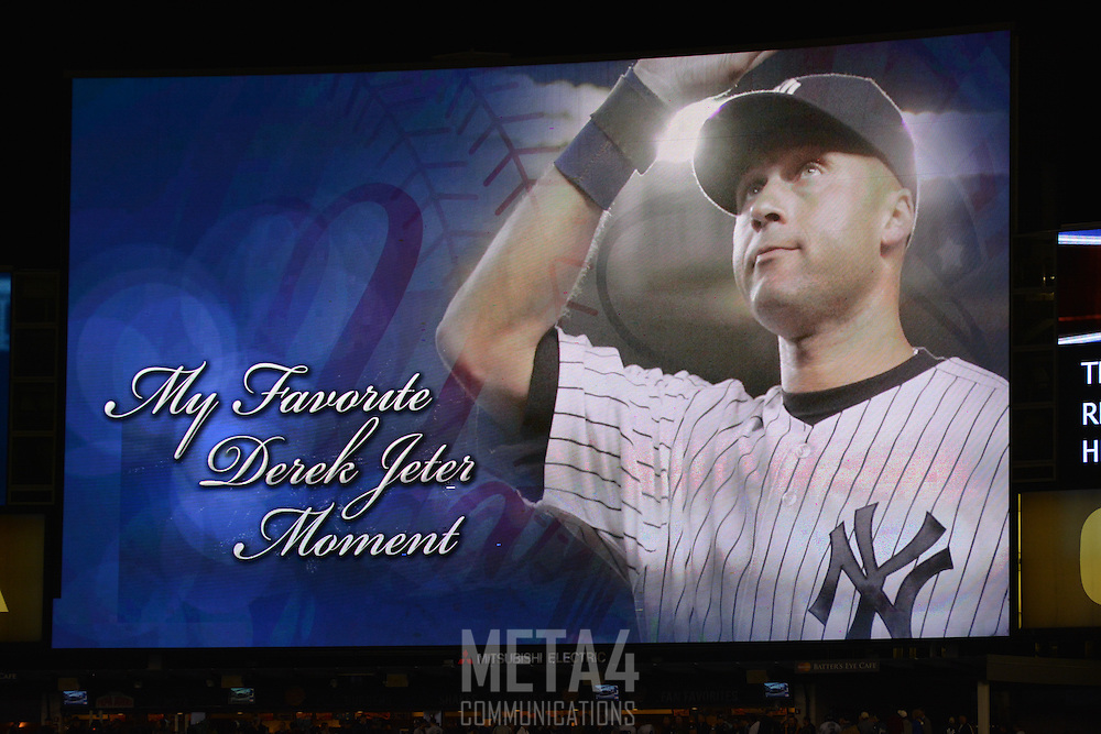 A tribute to Derek Jeter is displayed on the Yankee Stadium video screen.