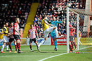A Northampton corner curls in just over the bar during the Sky Bet League 2 match between Exeter City and Northampton Town at St James' Park, Exeter, England on 16 April 2016. Photo by Graham Hunt.