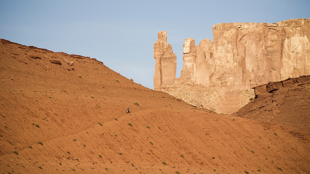 Rene Wildhaber rides his Mountain Bike during the Red Bull Buffalo Soldier Mountain Bike Trip in USA near Moab, on October 13th 2012.