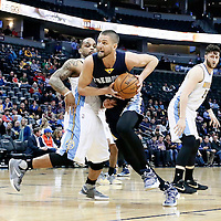01 February 2016: Memphis Grizzlies forward Chandler Parsons (25) drives past Denver Nuggets guard Jameer Nelson (1) during the Memphis Grizzlies 119-99 victory over the Denver Nuggets, at the Pepsi Center, Denver, Colorado, USA.