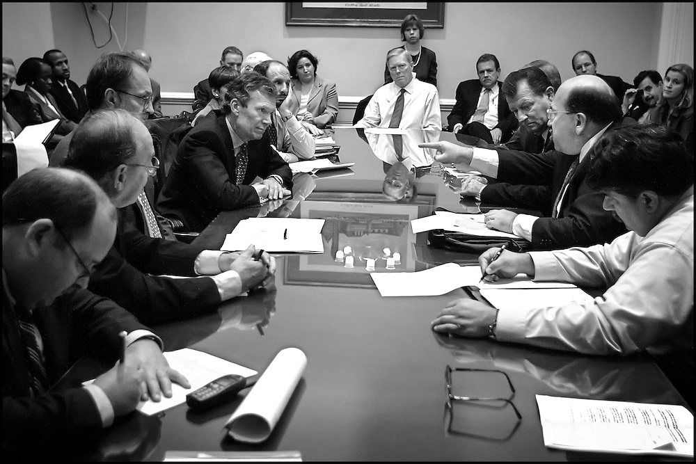 Senate Majority Leader Tom Daschle listens with other members of Congress to labor leaders' grievences during a meeting in Rep. Gephardt's offfice.  10/04/01..©PF BENTLEY/PFPIX.com