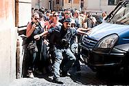 Roma 27 Giugno 2012.Manifestazione  dei sindacati di base  contro la riforma del lavoro e il ministro Fornero..La polizia  tenta di bloccare i manifestanti che vogliono arrivare a Montecitorio