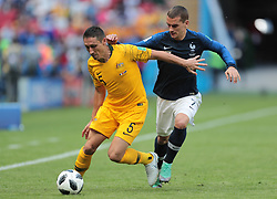 June 16, 2018 - Kazan, Russia - Defender Mark Milligan of Australia and forward Antoine Griezmann of France during a Group C 2018 FIFA World Cup soccer match between France and Australia at the Kazan Arena. (Credit Image: © Anatoliy Medved/Icon SMI via ZUMA Press)