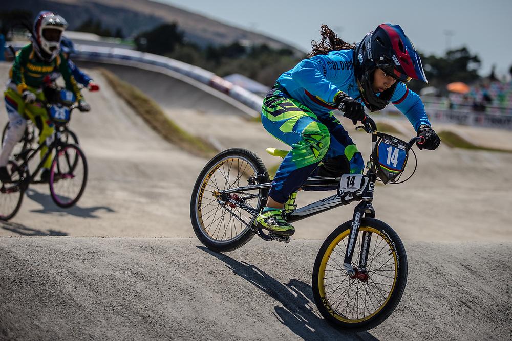 13 Girls #14 (FAYAD MERCADO Sharid Nicolle) COL at the 2018 UCI BMX World Championships in Baku, Azerbaijan.