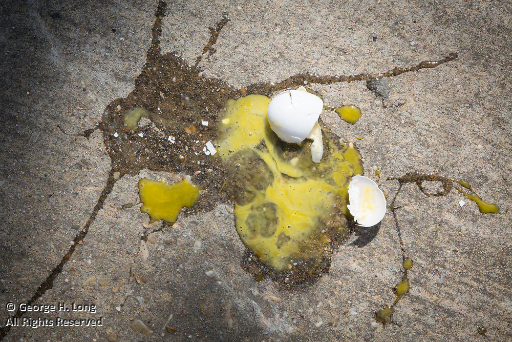 broken egg on concrete at the Owens & Minor annual Crawfish Boil on May 20, 2017