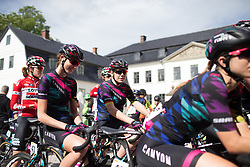 Christa Riffel (GER) and Mieke Kröger (GER) of CANYON//SRAM Racing wait for the start of Stage 2 of the Ladies Tour of Norway - a 140.4 km road race, between Sarpsborg and Fredrikstad on August 19, 2017, in Ostfold, Norway. (Photo by Balint Hamvas/Velofocus.com)