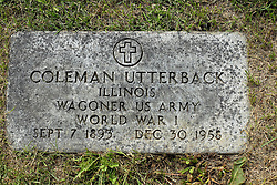 31 August 2017:   Veterans graves in Park Hill Cemetery in eastern McLean County.<br /> <br /> Coleman Utterback  Illinois  Wagoner US Army World War I  Sept 7 1893  Dec 30 1958