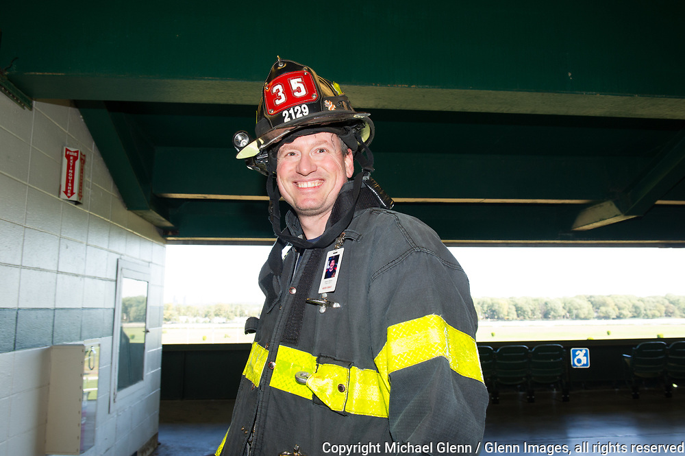 1 Oct 2017 Elmont, New York United States of America //  FF Cody Stamberger 35 engine at the 3RD annual national stair climb for fallen firefighters at the Belmont Park racetrack  Michael Glenn  /   for the FDNY
