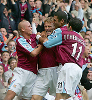 TEDDY SHERINGHAM CELEBRATES HIS GOAL-Barclays Premiership-23 rd Oct 2005-West Ham v Middlesboro. COLORSPORT / KIERAN GALVIN