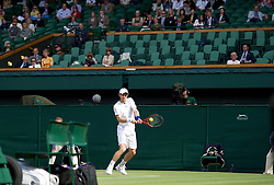 LONDON, ENGLAND - Wednesday, June 29, 2011: Andy Murray (GBR) plays in front of a near-empty royal box on centre court at the start of the Gentlemen's Singles Quarter-Final match on day nine of the Wimbledon Lawn Tennis Championships at the All England Lawn Tennis and Croquet Club. (Pic by David Rawcliffe/Propaganda)