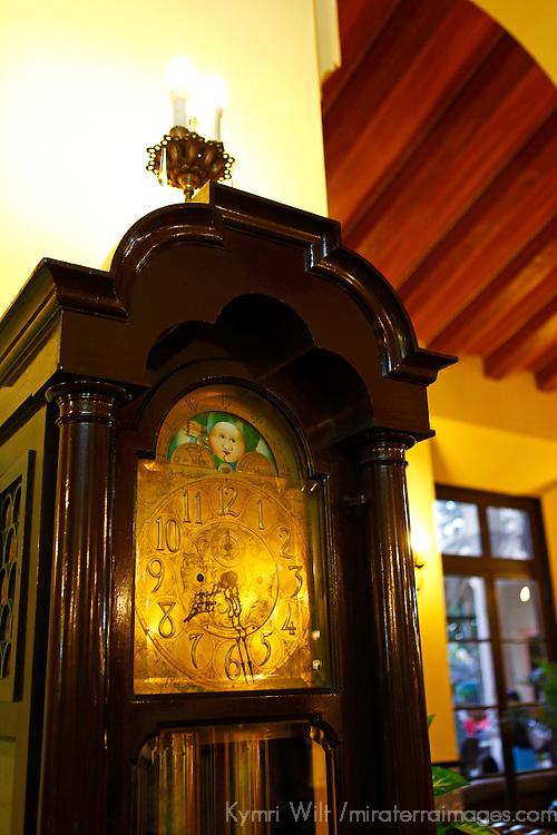 Central America, Cuba, Havana. Grandfather Clock in Lobby at Hotel Nacional de Cuba, an iconic landmark in Havana.