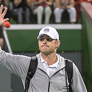 March 7, 2015, Indian Wells, California:<br /> Andy Roddick is introduced during the McEnroe Challenge for Charity presented by Masimo in Stadium 2 at the Indian Wells Tennis Garden in Indian Wells, California Saturday, March 7, 2015.<br /> (Photo by Billie Weiss/BNP Paribas Open)