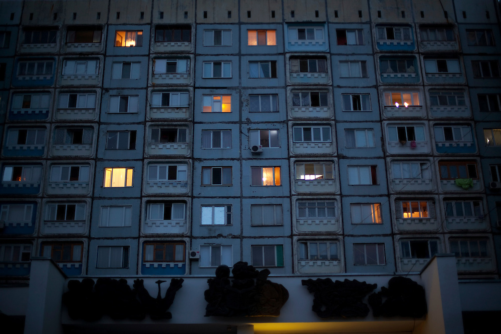 A view of an apartment building in Balti.