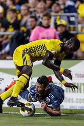 September 1, 2018 - Columbus, OH, U.S. - COLUMBUS, OH - SEPTEMBER 01: Jonathan Mensah (4) of Columbus Crew SC collides with Ronald Matarrita (22) of New York City FC in the MLS regular season game between the Columbus Crew SC and the New York City FC on September 01, 2018 at Mapfre Stadium in Columbus, OH. The Crew won 2-1. (Photo by Adam Lacy/Icon Sportswire) (Credit Image: © Adam Lacy/Icon SMI via ZUMA Press)