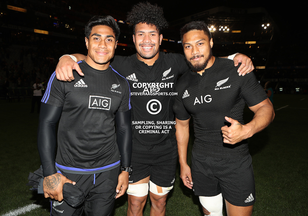 DURBAN, SOUTH AFRICA, 8 October, 2016 - Malakai Fekitoa with Ardie Savea of New Zealand and George Moala of New Zealand during the Rugby Championship match between South Africa and New Zealand at Kings Park in Durban, South Africa. (Photo by Steve Haag)