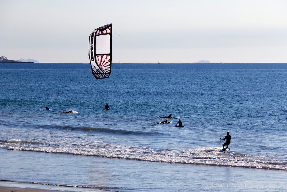 USA, California, San Diego. Kite Surfer at Pacific Beach.