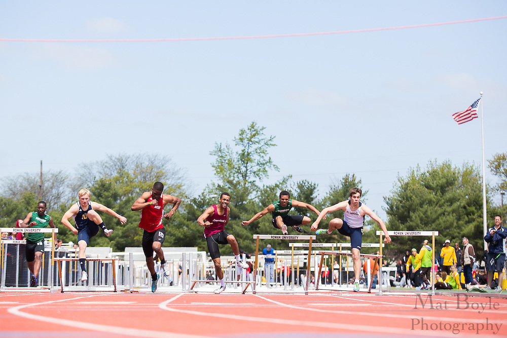 Men's 110 meter hurdles at the NJAC Track and Field Championships at Richard Wacker Stadium on the campus of  Rowan University  in Glassboro, NJ on Sunday May 5, 2013. (photo / Mat Boyle)