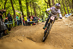 Rachel Atherton of Great Britain during Mercedes-Benz UCI Mountain Bike World Cup competition final day in Bike Park Pohorje, Maribor on 28th of April, 2019, Slovenia.  . Photo by Grega Valancic / Sportida