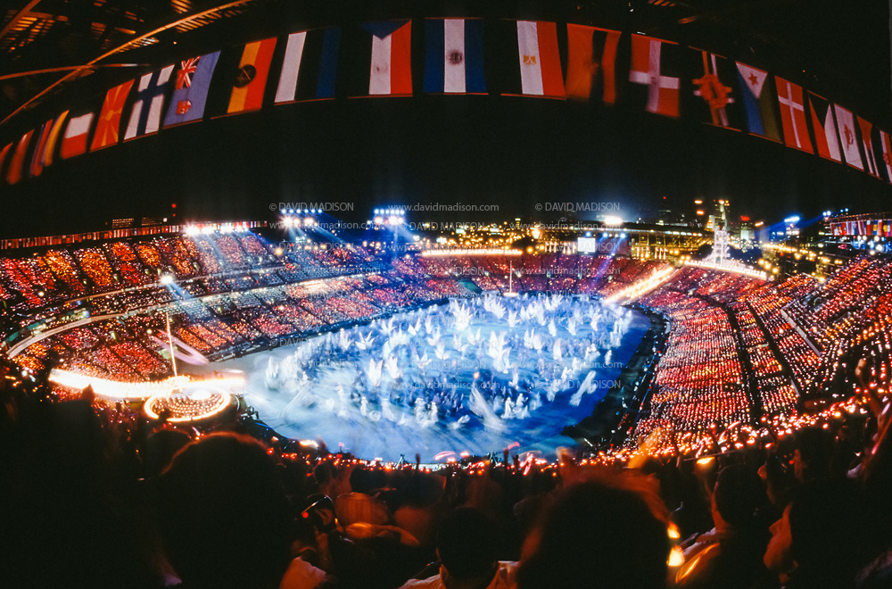ATLANTA - JULY 19:  The Opening Ceremony of the 1996 Olympic Games takes place on July 19, 1996 in Centennial Olympic Stadium in Atlanta, Georgia.  (Photo by David Madison/Getty Images)