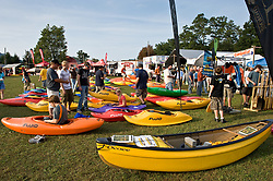Vendors and boat dealers display their wares at the American Whitewater's Gauley Fest. Gauley Fest has been described as one of the largest river festivals in the world with whitewater vendors, food, swap meet, and silent auction — along with the world-class boating on the river. It is held on the third  weekend of September.