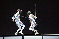 Brice GUYART (FRA) [left] v Keith COOK (GBR) [right] during the men's foil competition at the London Prepares Olympic Test Event, ExCel Centre,  London, England November 27, 2011.