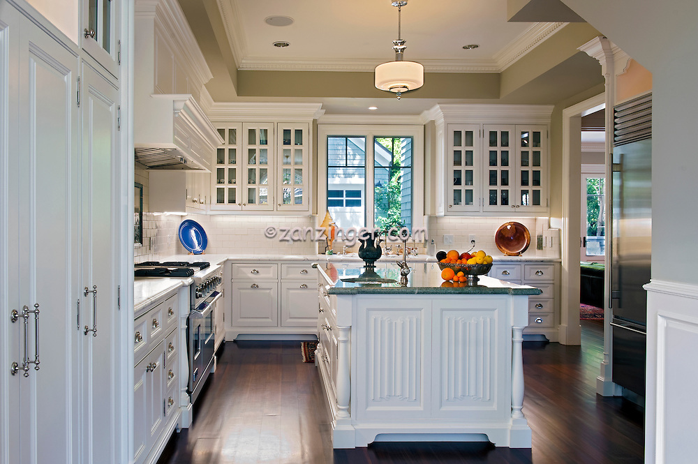 Kitchen, white cabinets, wood plank floor, residential .jpg