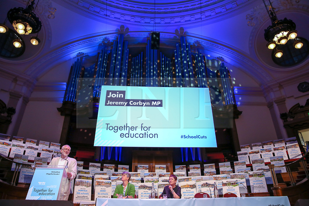 """© Licensed to London News Pictures. 22/06/2019. London, UK. Labour Party leader Jeremy Corbyn addresses the """"Together for Education"""" rally in The Methodist Central Hall, Westminster attended by teachers, governors, parents, councillors and trade unionists about campaigning against real-terms education funding cuts. Photo credit: Dinendra Haria/LNP"""