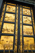 The gilded bronze Gates of Paradise at the Baptistery of San Giovanni, Florence, Tuscany, Italy