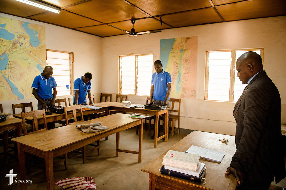 A prayer before an exam at the Lutheran Center for Theological Studies (CLET) on Wednesday, Feb. 15, 2017, in Dapaong, Togo. LCMS Communications/Erik M. Lunsford