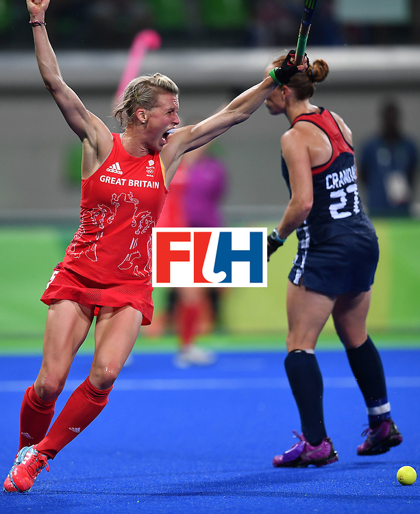 Britain's Alex Danson celebrates scoring a goal during the women's field hockey Britain vs the USA match of the Rio 2016 Olympics Games at the Olympic Hockey Centre in Rio de Janeiro on August, 13 2016. / AFP / MANAN VATSYAYANA        (Photo credit should read MANAN VATSYAYANA/AFP/Getty Images)